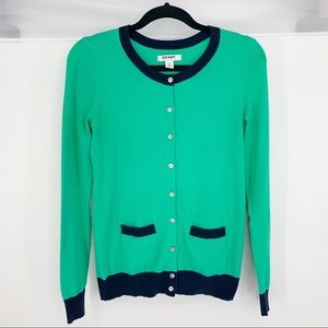 Old Navy green and navy cardigan sweater size xs
